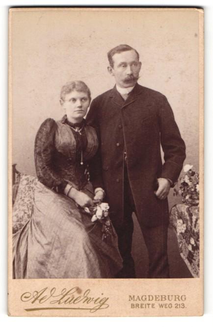 Fotografie A. Ludwig, Magdeburg, Portrait Vater und Tochter