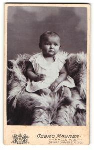 Fotografie Georg Maurer, Halle a/S, Portrait Kleinkind auf Fell