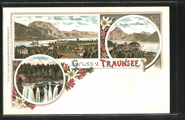 Lithographie Traunkirchen, Ortsansicht mit Traunsee, Ortsansicht von der Villa Satori, Traunfall