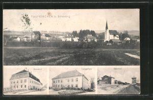 AK Taufkirchen, Bahnhof, Volksschule, Hotel Maierhof