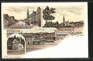 Lithographie Neumarkt-Kallham, Bahnhof, Neumarkt, Kalvarienberg