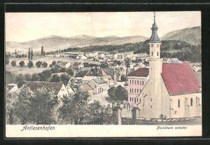 AK Antiesenhofen, Totalansicht mit Kirche