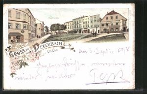 Lithographie Peuerbach, Strassenpartie am Marktplatz