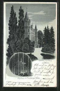 Mondschein-Lithographie Puchberg, Schloss Puchberg, Jagdhaus im Puchberger Walde