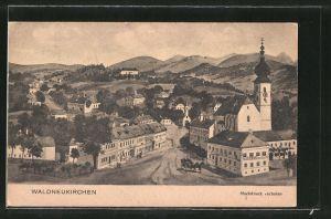 AK Waldneukirchen, Gasthaus mit Ortsansicht, Pferdekutsche