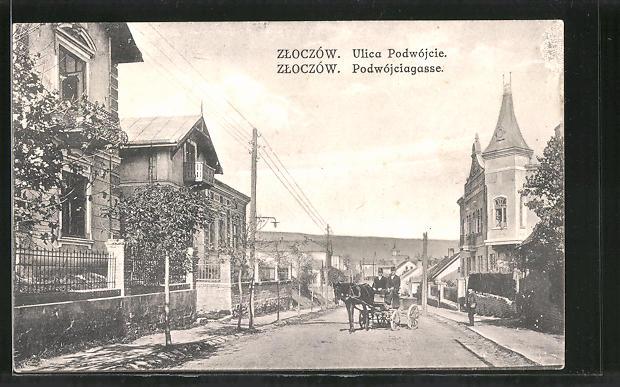 AK Zloczów, Ulica Podwójcie, Podwójciagasse, Pferdekutsche