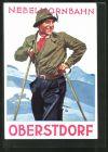 AK Oberstdorf, Skifahrer an der Nebelhornbahn, Art Deco