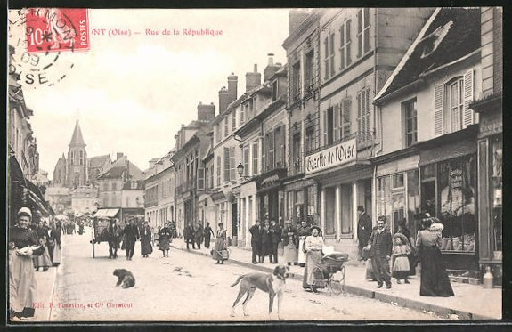 AK Clermont, Rue de la République, Strassenpartie mit Passanten, Gazette de l'Oise