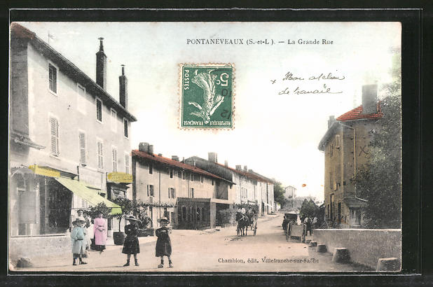 AK Pontaneveaux, La Grande Rue, Strassenpartie im Ortskern