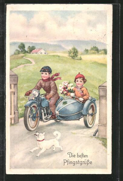 AK Die besten Pfingstgrüsse, Motorrad mit Seitenwagen