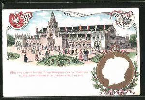 Präge-AK Frankfurt, Ganzsache PP 27 C 31/02, Wettstreit dt. Männergesangvereine 1903, Festhalle, Kaiser Wilhelm II.