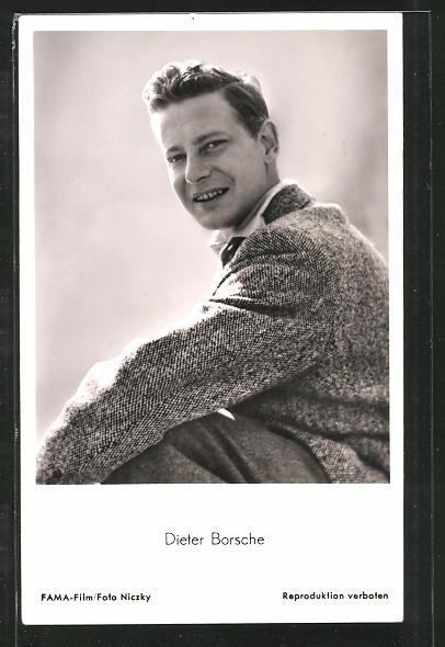 AK Schauspieler Dieter Borsche in Kamera blickend