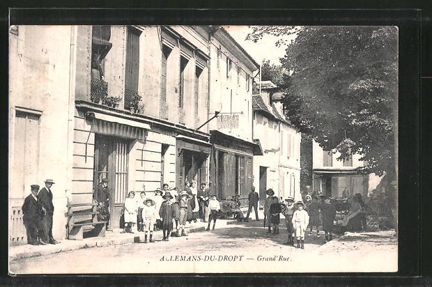 AK Aclemans-du-Dropt, Grand' Rue, Partie mit Kindern
