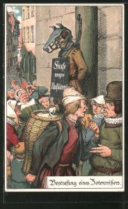 Künstler-AK Nürnberg, Bestrafung eines Zotenreissers