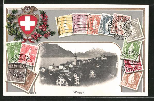 Passepartout-Lithographie Weggis, Ortsansicht aus der Vogelschau, Verschiedene Briefmarken