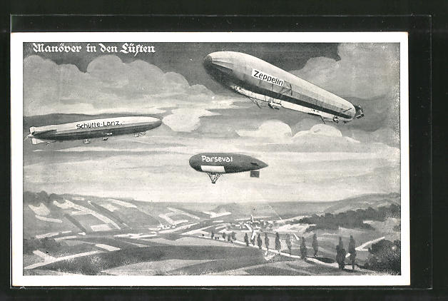 AK Manöver in den Lüften, Schütte-Lanz, Parseval, Zeppelin