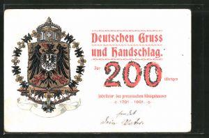 Lithographie Deutschen Gruss und Handschlag zur 200 jährigen Jubelfeier des preuss- Konigshauses 1901