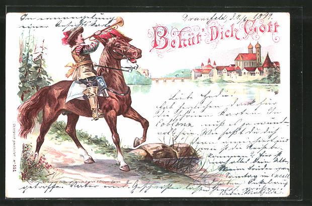 Lithographie Behüt' Dich Gott!, Trompeter von Säckingen zu Pferd