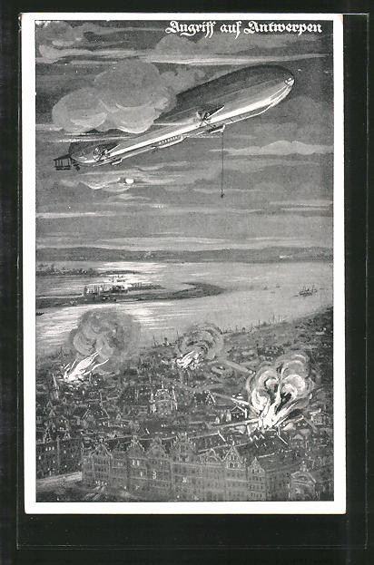 AK Deutscher Luftflotten-Verein, Angriff auf Antwerpen, Zeppelin, Luftschiff