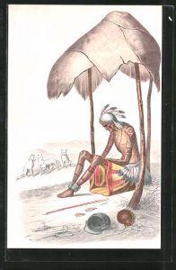 AK Alter Indianer, von seinem Stamm verlassen und dem Untergang preisgegeben