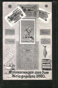 AK Erinnerungen aus dem Kriegsjahre 1916, Fleischloser Tag!