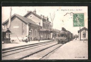AK Digoin, La Gare, Bahnhof mit Eisenbahn