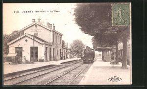 AK Jussey, La Gare, Bahnhof mit Eisenbahn