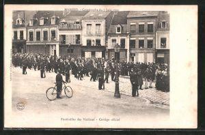 AK Mamers, Catastrophe du 7 Juin 1904, Funerailles des Victimes, Cortege officiel