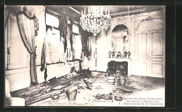AK Armentières, Souvenir des Greves d'Armentières, Journee du 13 Octobre 1903, Salon incendie de M. Verley-Cary