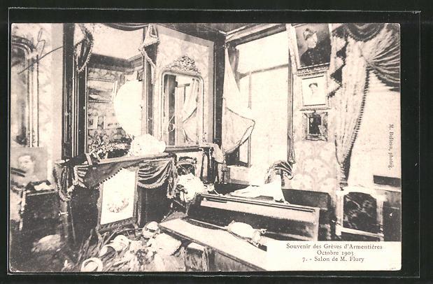 AK Armentières, Souvenir des Greves d'Armentières, Journee du 13 Octobre 1903, Salon de M. Flury