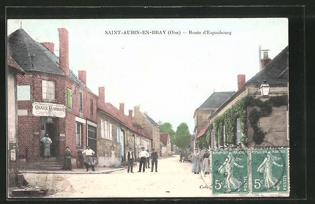 AK Saint-Aubin-en-Bray, Route d'Espaubourg mit Café Hotel