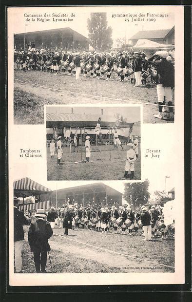 AK Lyon, Concours des Societés gymnastique des Patronages 1909, Tambours et Clairons devant le Jury, Turnfest