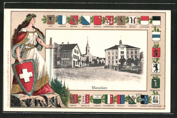 Passepartout-Lithographie Menziken, Ortspartie mit Blick zur Kirche, Wappen, Helvetia