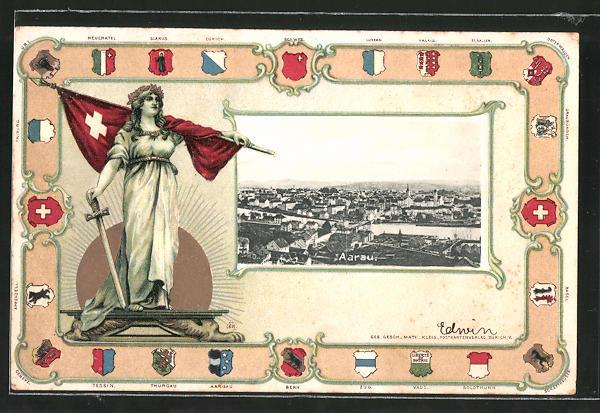Passepartout-Lithographie Aarau, Gesamtansicht, Helvetia mit Fahne, Wappen