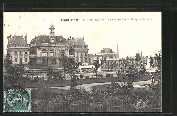 AK Saint Omer, La Gare, Le Canal, Le Nouveau Pont et le Square de la Gare
