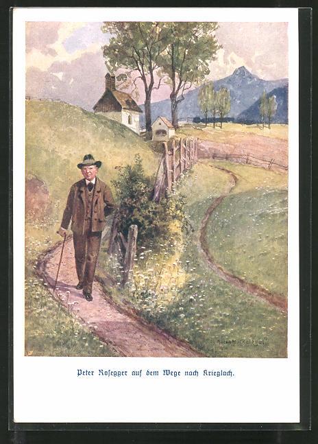 Künstler-AK E. Reckziegel: Peter Roseggers auf dem Weg nach Krieglach