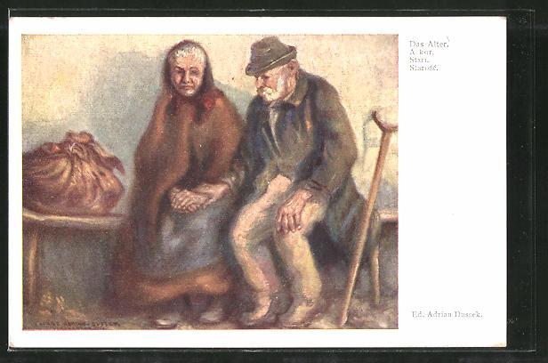 Künstler-AK Eduard Adrian Dussek: Das Alter, altes Ehepaar