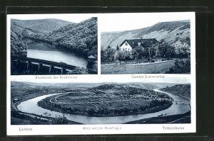 AK Trittenheim, Gasthof Zummeterhof, Staubecken des Kraftwerkes, Ansicht des Moselbogens