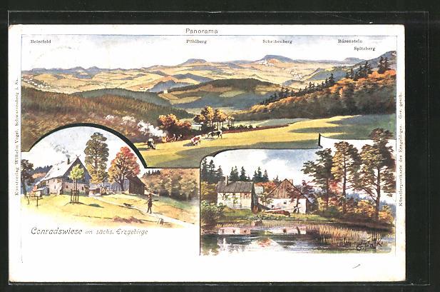 Lithographie Lauter, Gasthaus Conradswiese, Partie am Teich, Fernsicht auf die umliegenden Ortschaften
