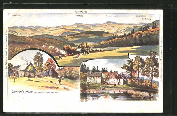 Lithographie Lauter, Gasthaus Conradswiese, Fernsicht auf die umliegenden Ortschaften, Partie am Teich