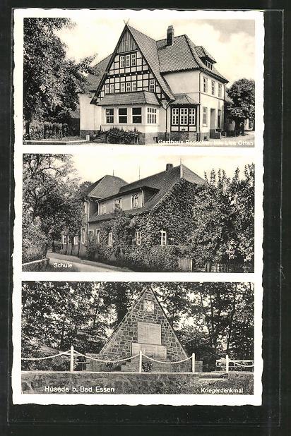 AK Hüsede, Kriegerdenkmal, Schule, Gasthaus Redecker