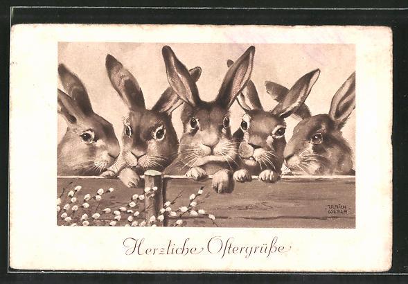 Künstler-AK Ulrich Weber: Ostergrüsse, Neugierige Kaninchen