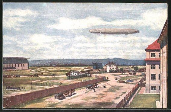 AK Dresden, Zeppelin über dem Truppenübungsplatz des Ersatz-Abt. d. Telegraphen-Btls. Nr. 7