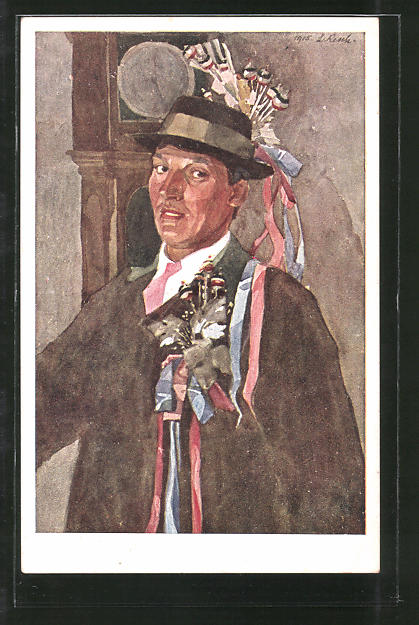 Künstler-AK Leopold Resch: Portrait eines Hochzeitsladers