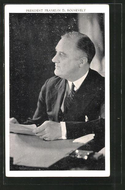 AK Präsident der USA Franklin D. Roosevelt am Schreibtisch