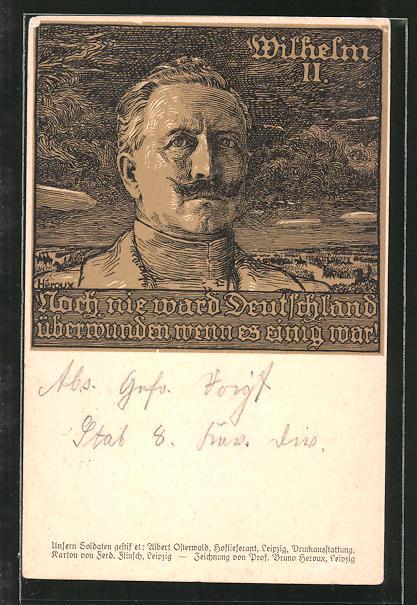 Künstler-AK Bruno Heroux: Portrait des Deutschen Kaisers Wilhelm II.