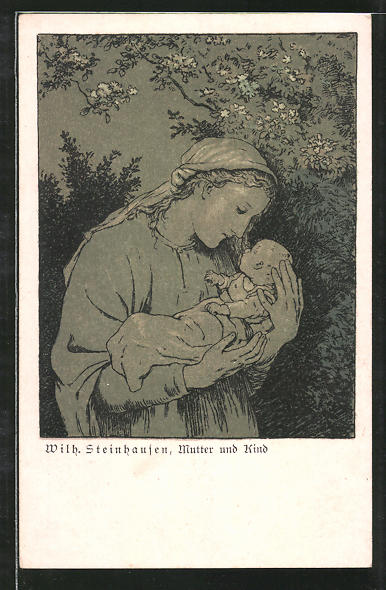Künstler-AK Wilhelm Steinhausen: Mutter und Kind