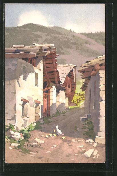 Künstler-AK S. Bonelli: Une rue à Entrèves, Ortspartie