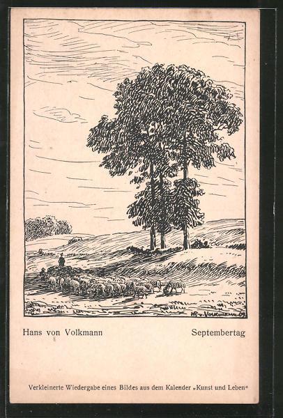 Künstler-AK Hans von Volkmann: Septembertag, Schäfer