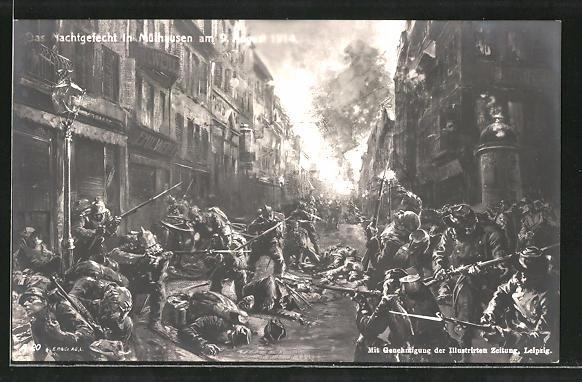 AK Mühlhausen, Nachtgefecht am 9. August 1914, Strassenkampf